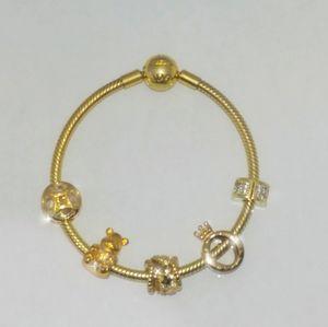 Pandora shine bracelet +5pandora shine charmsd